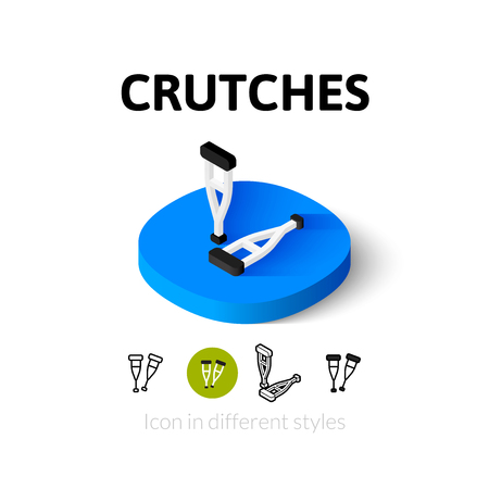 muletas: Crutches icon, vector symbol in flat, outline and isometric style