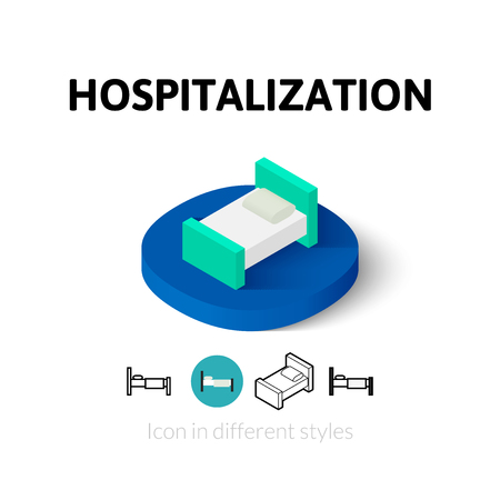 hospital corridor: Hospitalization icon, vector symbol in flat, outline and isometric style
