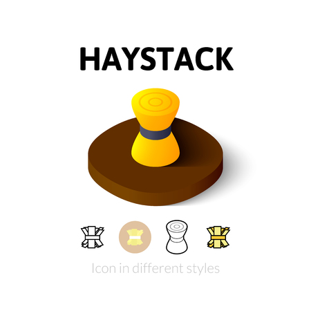 hay bale: Haystack icon, vector symbol in flat, outline and isometric style Illustration