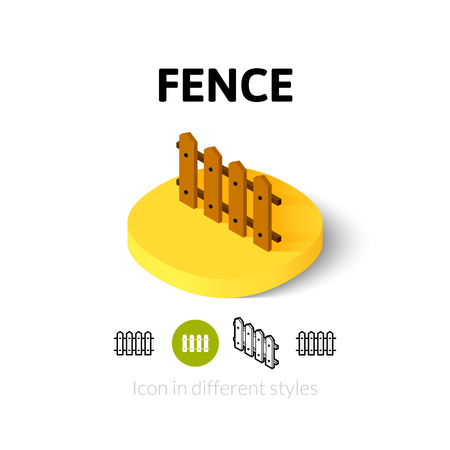symbol fence: Fence icon, vector symbol in flat, outline and isometric style
