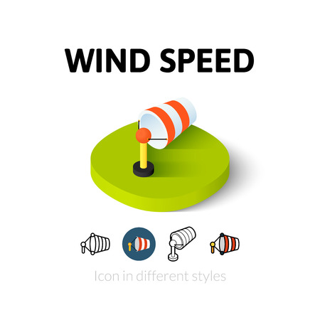 vane: Wind speed icon, vector symbol in flat, outline and isometric style