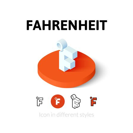fahrenheit: Fahrenheit icon, vector symbol in flat, outline and isometric style