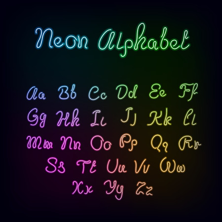 Neon rainbow color glow alphabet., vector realistic color dodge letters Illustration
