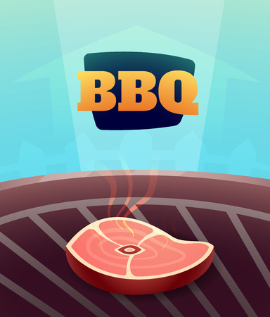 bbq: Barbecue BBQ Party invitation card, vector illustration poster background in cartoon style Illustration