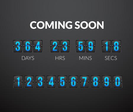 Binnenkort, flip countdown timer panel wiht scorebord nummer, illustratie geïsoleerd op een zwarte achtergrond