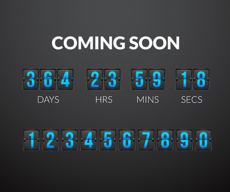 Coming Soon, flip countdown timer panel wiht scoreboard number, vector illustration isolated on black background