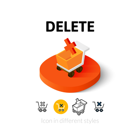 delete icon: Delete icon, vector symbol in flat, outline and isometric style