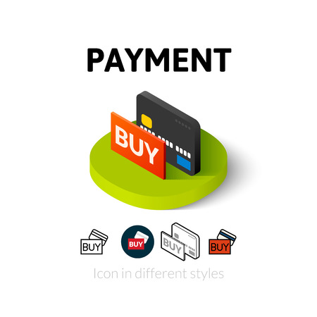 Payment icon, vector symbol in flat, outline and isometric style