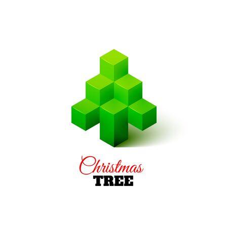 christmas tree illustration: Isometric christmas tree logo, geometric vector illustration