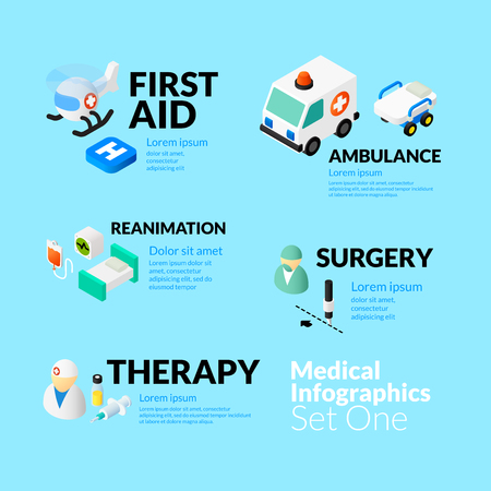 ambulancia: Infografía salud médica conjunto con iconos planos isométricos, incluyó por primera vez la cirugía reanimación ambulancia ayuda y el concepto de la terapia, ilustración vectorial
