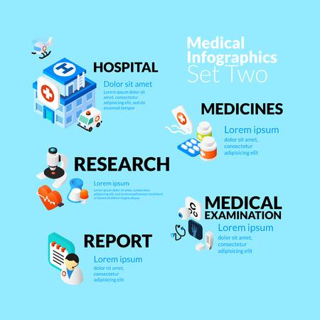 medicine: Infografía salud médica establece con iconos planos isométricos, medicamentos hospitalarios incluidos investigan examen médico informe de concepto, ilustración vectorial