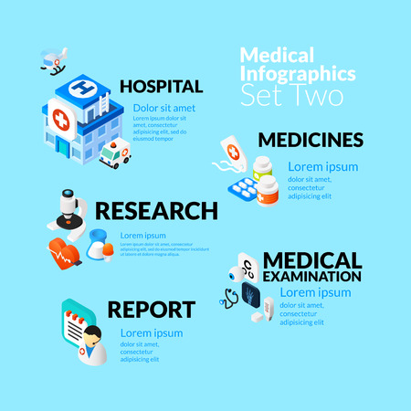 medizin logo: Medizinische Gesundheitsinfografik mit isometrischen flachen Icons Set, inklusive Krankenhaus Medikamente Forschung Medizinische Prüfungsbericht-Konzept, Vektor-Illustration Hintergrund Illustration