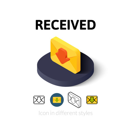 recive: Recived icon, vector symbol in flat, outline and isometric style Illustration