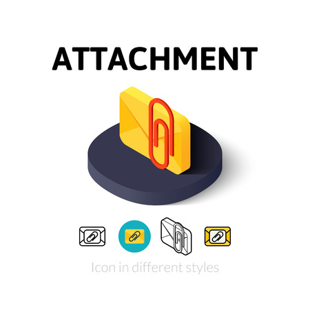 Attachment icon, vector symbol in flat, outline and isometric style