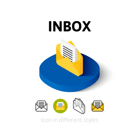 inbox: Inbox icon, vector symbol in flat, outline and isometric style