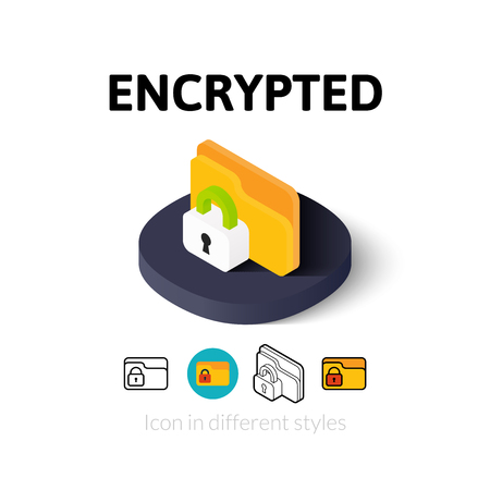encrypted: Encrypted icon, vector symbol in flat, outline and isometric style