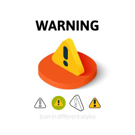 alerta: Icono de advertencia, símbolo del vector en plano, esquema y estilo isométrico Vectores