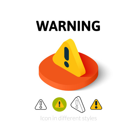 Warning icon, vector symbol in flat, outline and isometric style Stock Illustratie