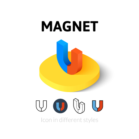 magnet: Magnet icon, vector symbol in flat, outline and isometric style Illustration