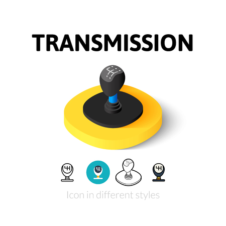 Transmission icon, vector symbol in flat, outline and isometric style Illustration