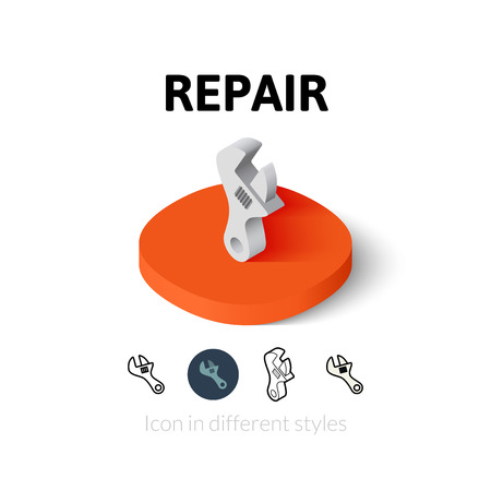 Repair icon, vector symbol in flat, outline and isometric style