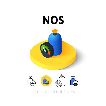 nitro: NOS icon, vector symbol in flat, outline and isometric style Illustration