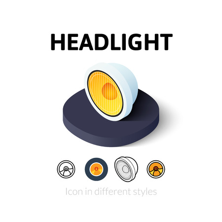 Headlight icon, vector symbol in flat, outline and isometric style Illustration