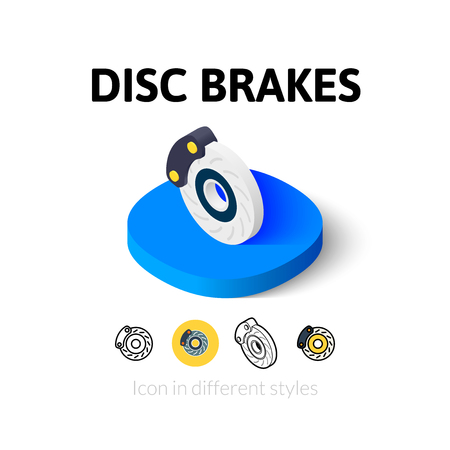 brakes: Disc brakes icon, vector symbol in flat, outline and isometric style Illustration