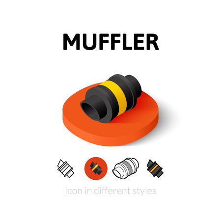 muffler: Muffler icon, vector symbol in flat, outline and isometric style