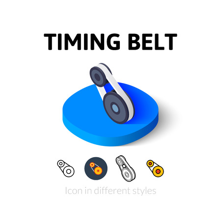 timing: Timing belt icon, vector symbol in flat, outline and isometric style
