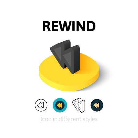 rewind: Rewind icon, vector symbol in flat, outline and isometric style Illustration