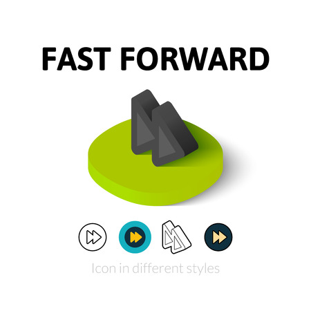 forward icon: Fast forward icon, vector symbol in flat, outline and isometric style