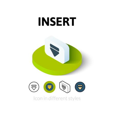 in insert: Insert icon, vector symbol in flat, outline and isometric style