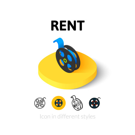 set: Rent icon, vector symbol in flat, outline and isometric style