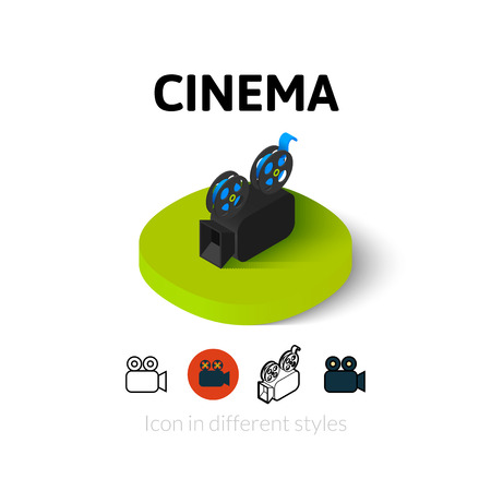 Cinema icon, vector symbol in flat, outline and isometric style