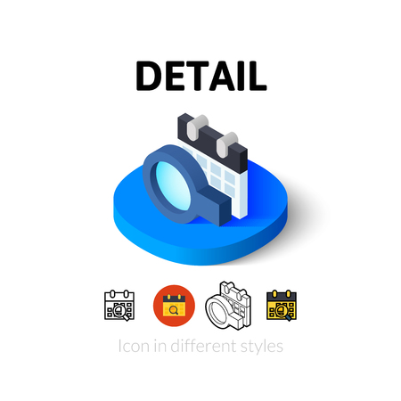 Detail icon, vector symbol in flat, outline and isometric style