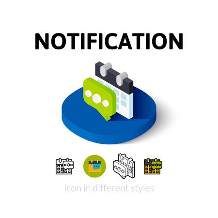 알림: Notification icon, vector symbol in flat, outline and isometric style 일러스트