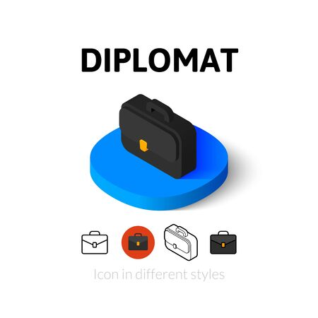 diplomat: Diplomat icon, vector symbol in flat, outline and isometric style Illustration