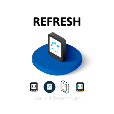 kindle: Refresh icon, vector symbol in flat, outline and isometric style Illustration