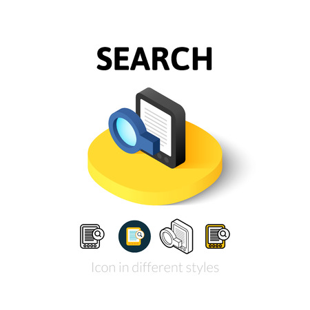 search button: Search icon, vector symbol in flat, outline and isometric style