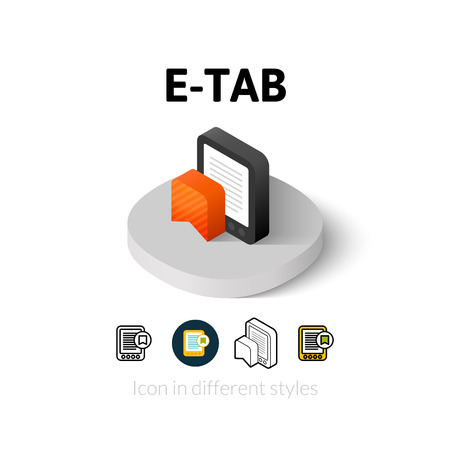 kindle: E-Tab icon, vector symbol in flat, outline and isometric style Illustration