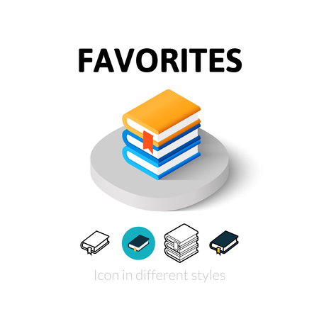 favorites: Favorites icon, vector symbol in flat, outline and isometric style