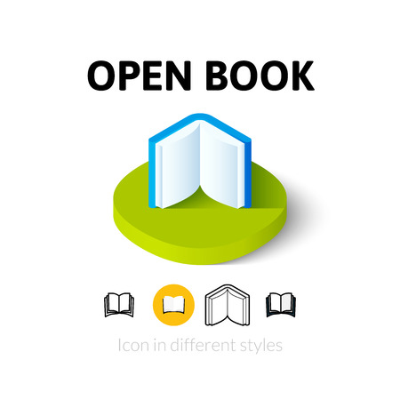 reading app: Open book icon, vector symbol in flat, outline and isometric style Illustration