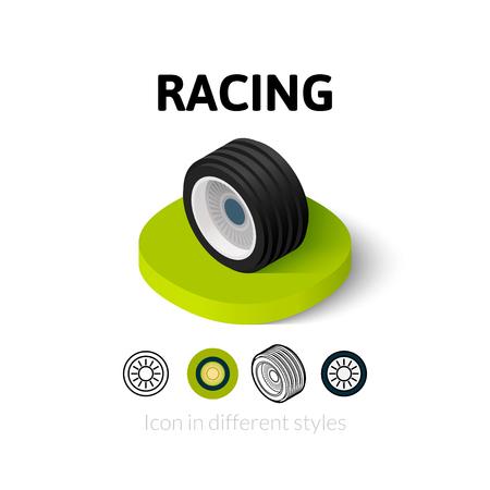 silhouette voiture: Racing icône, symbole de vecteur dans l'appartement, les grandes lignes et le style isométrique