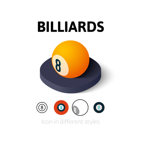stroke of luck: Billiards icon, vector symbol in flat, outline and isometric style