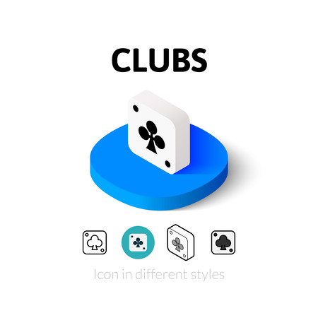 stroke of luck: Clubs icon, vector symbol in flat, outline and isometric style Illustration
