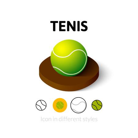 tenis: Tenis icono, símbolo del vector en plano, esquema y estilo isométrico