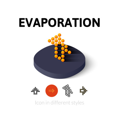 evaporation: Evaporation icon, vector symbol in flat, outline and isometric style