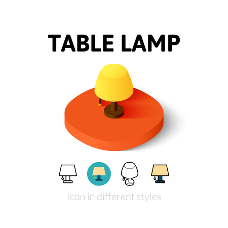 lamp outline: Table lamp icon, vector symbol in flat, outline and isometric style Illustration