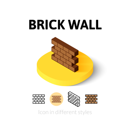 Brick wall icon, vector symbol in flat, outline and isometric style